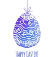 Watercolor painted ornate easter egg vector