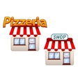Cartoon shop and pizzeria icons vector