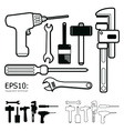 Tools icon set white background vector