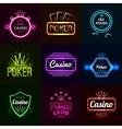 Neon casino emblems vector