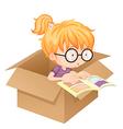 A girl reading book in a box vector