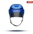 Classic blue ice hockey helmet with glass visor vector