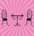 Old retro chairs and table vector