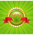 Eco label with sunburst vector