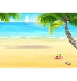 The sea shore with palm trees and seashells vector