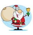 Jolly christmas santa ringing a bell vector