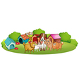 Cute dogs outside the doghouses vector
