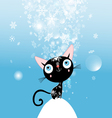 Christmas card with kitten vector