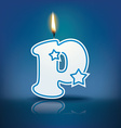 Candle letter p with flame vector
