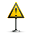 Pole with warning sign vector