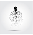 Tree of business shoot grow on human head symbol vector