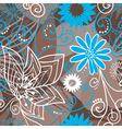 Coffee-and-blue floral pattern vector