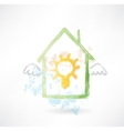 House and lamp grunge icon vector