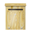 Wooden mail box with a lock on a white background vector
