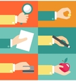 Set of hands - clients purchasing work in vector