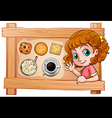 A frame with a young girl with drinks and biscuits vector