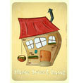 Cartoon houses postcard vector