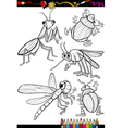 Cartoon insects set for coloring book vector
