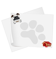 Empty papers with a dog vector