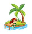 A young mermaid in the island vector
