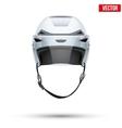 Classic white ice hockey helmet with glass visor vector