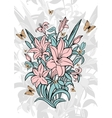 Bouquet of lilies with butterflies vector