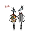 Couple of funny goats symbol 2015 new year vector