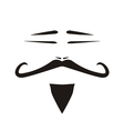 Chinese man face with mustache and slanted eyes vector