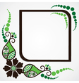 Green flower leaf frame background vector
