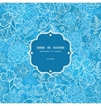 Blue field floral texture frame seamless pattern vector