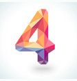 Number four in modern polygonal crystal style vector