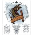 Dragon and ribbon - set stock vector
