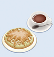 A smoking hot coffee with round waffles vector