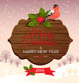 Christmas signboard with holly berry and bullfinch vector