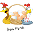 Happy easter - hen in love hold basket with eggs - vector