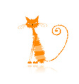 Orange wet cat vector