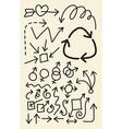 Doodle arrow hand drawing symbols vector