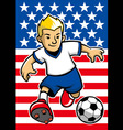 Usa soccer player with flag background vector