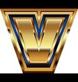 Golden font letter v vector