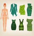 Dress up paper doll with an assortment of green vector
