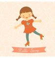 Hello spring card with cute little girl vector