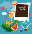 Watermelon fruit and summer objects with frame vector
