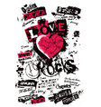 Heart love grungy texture vector