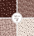 Seamless patterns set with coffee beans vector