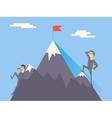 Businessman characters achievement top flag vector