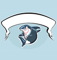 Shark in suit with banner vector