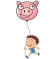 A boy holding a pig balloon vector