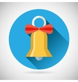 Bell with ribbon bow icon vector