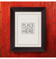 Brown wooden frame on red wooden wall vector