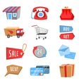 Set of flat and colorful shopping icons vector